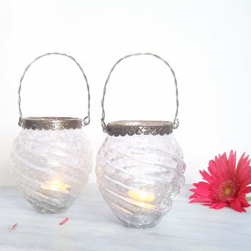 Tea Light Holder Set of Two Votive Candle Holder Wedding Hanging Lantern Engagement Party Decoration Glass Candle Lanterns
