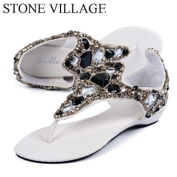 Shoes Woman Fashion Big  Rhinestone Rome  Shoes Women's  Wedges Shoes Sandals Gladiator Sandals Women