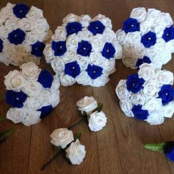 13 piece ROYAL BLUE WEDDING BOUQUET PACKAGE only $150!