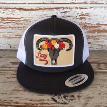 """Lazy J Grey and White Skull and Flowers Patch Cap (4"""")"""