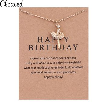 Cloaccd Fashion Gold Color Sweet Ballet Girl Pendant Necklace for Women Long Chain Birthday Gifts With Card