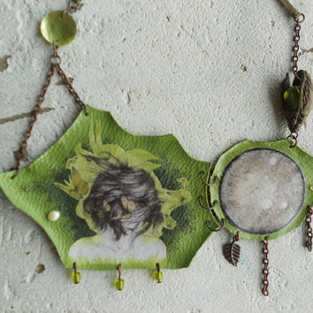 Necklace with Artwork+Leather+Pearls+FlowerCone+Nacre+Copper! ~Fly to Pulse~ Elvish Dreamy Bib Necklace in Chartreuse+Black&White+Brown !