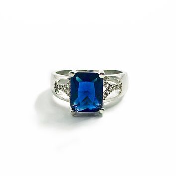 Blue Sapphire CZ Sterling Silver Ring