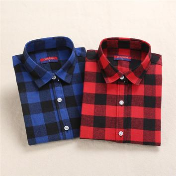 New Woollen Women Tops Long Sleeve Plaid Shirts For Women Cotton Pointed Collar Blusa Fluffy Plaid Shirt Female Women Shirts