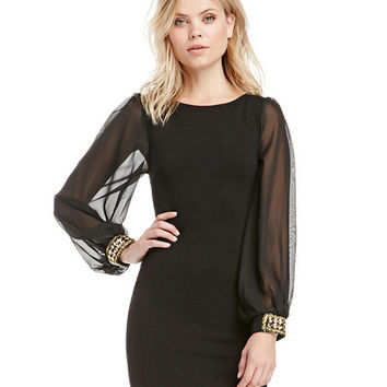 Black Bishop Sleeve Bodycon Mini Dress with Mesh Accent