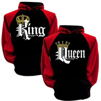 King And Queen Hoodies Pullovers Valentine New Multi Colors Matching Cute Love Couples Crown Print [9210702147]