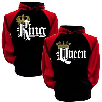 King And Queen Hoodies Pullovers Valentine New Multi Colors Matching Cute Love Couples Crown Print [9145169350]