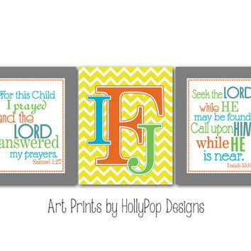 Nursery Wall Decor For this Child I Prayed Monogram Chevron Wall Art Baby Boy Art Prints Bible Verse Inpsirational Wall Art Kids Bedroom