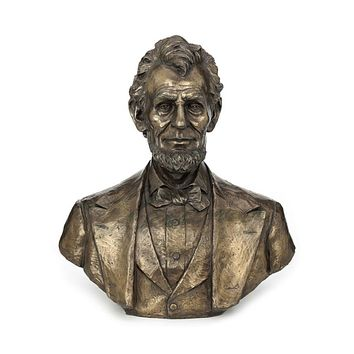 Abraham Lincoln Lifesize Portrait Bust Bronze Finish 19.75H