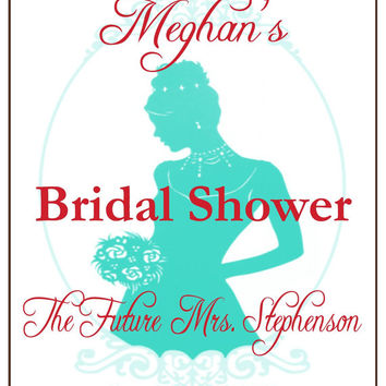 Bridal Shower Wine Bottle LabelsYou Choose Color  Customized Personalized Set of 4