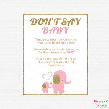 Pink Gold Elephant Baby Shower, Don't Say Baby, Printable baby shower games, baby shower sign, girl baby shower, instant download EL0004-lpg
