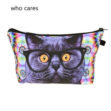 Who Cares New Cosmetic Bag 3D Printing Cute Acid Cat Neceser Portable Make Up Bag Organizer Bolsa feminina Travel Toiletry Bag