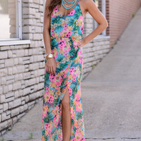 Luau Party Maxi, Teal/Pink
