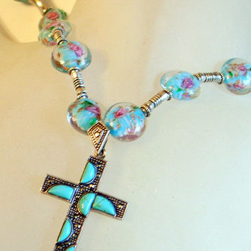 Vintage Turquoise Cross Necklace - Sterling - Handmade Lampwork Beads- Modernist Abstract Design - Long