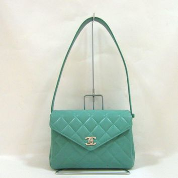 CHANEL Matelasse Shoulder Bag Quilted Caviar Leather Turquoise