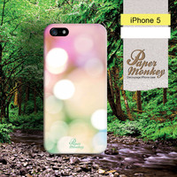 Bokeh , Napkin decoupage iphone 5 case , case for iPhone 5 , iphone 4 case , pink green bokeh