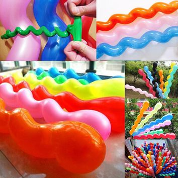 100 pcs/lot Hot sale Multicolor Twist Spiral Latex Funny Balloons Birthday Party Decor New Popular Classic Toys for Kids
