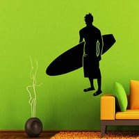 SURFER WALL DECALS MAN DECAL VINYL STICKER SURFING SPORT DECOR ART MURALS  N292