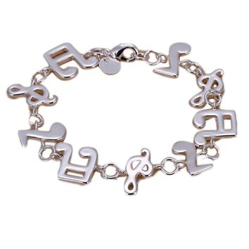 Fashion 925 Sterling Silver Music Note Bracelet Women Jewelry Fashion Beautiful Classic