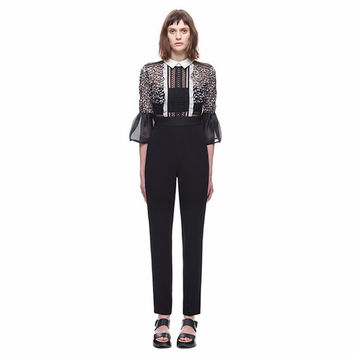 New 2016 Women Self Portrait Cutwork Lace High Waist Bell Sleeve Playsuits Fashion Hollow Out Zipper Back Jumpsuits Bodysuits