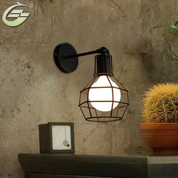 Retro E27 Black Iron Wall Lamp Indoor Vintage Lighting Cage Fixture Lights for Bar Living Room Aisle Restaurant Cafe Decoration