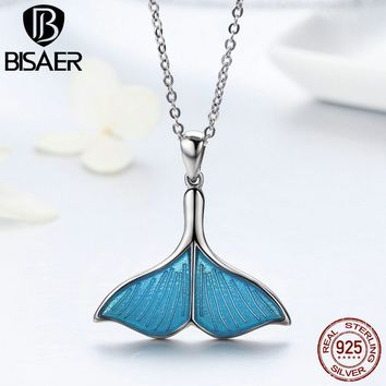 BISAER Real 925 Sterling Silver Mermaid Dolphin Love Blue Enamel Pendant Necklaces For Women Luxury Fine Jewelry Brincos Gift