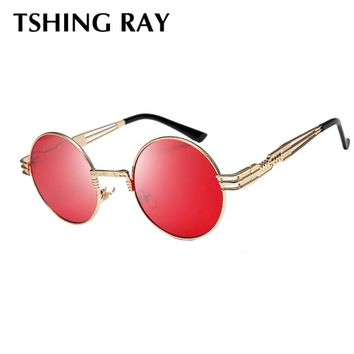 TSHING RAY Gothic Round Steampunk Sunglasses Men Women Vintage Metal Frame Steam punk Sun Glasses For Male Circle