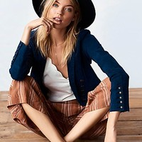 Free People Womens Structured Washed Blazer