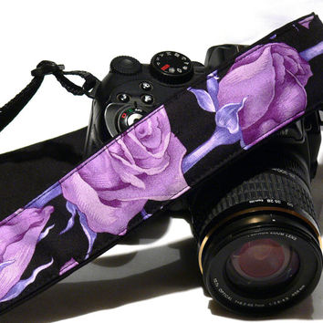 Purple Roses Camera Strap. DSLR Camera Strap. Canon Nikon Camera Strap. Women Camera Strap. Camera Accessories. Gift Idea.