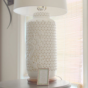 Tall White Ceramic Asian Style Lamp, Blanc de Chine Ginger Jar Table Lamp,  Large  Pierced Lamp