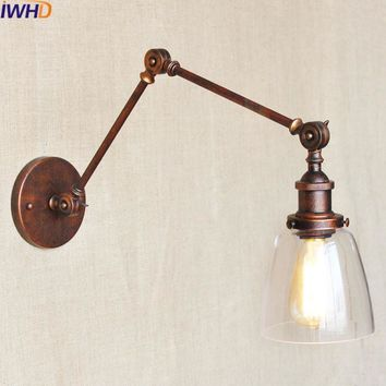 Wrought Iron Vintage Wall Lamp Swing Long Arm Sconce Bathroom Light Home Lighting Fixtures Applique murale luminaire moderne