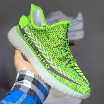HCXX A1473 Off-White x adidas Yeezy Boost 350V2 Knit Slip-on Breathable Running Shoes Green