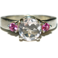 Rose Quartz Ring, Pink Sapphire Accents, Anniversary Ring, Engagement Ring