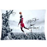 Coolest NBA Chicago Bulls Michael Jordan Custom Zippered Pillowcase Pillow Cases Cover 20x30 (one side) Standard Size NIKE JUST DO IT Dunk