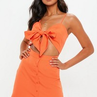 Missguided - Orange Tie Front Cut Out Button Down Mini Dress