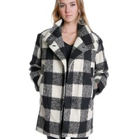 Make A Statement Plaids Coat - White/Black
