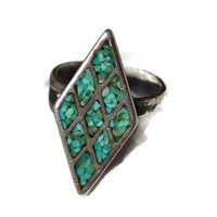Turquoise Ring Sterling Silver Old Pawn Mosaic Diamond Shape Ring 7.5