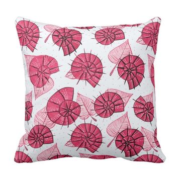 Pink Snails And Leaves Nature Lover Pattern Throw Pillow
