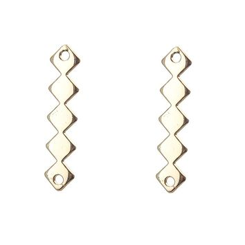 5pcs/lot 32*7mm Golden Alloy Long Rhombus Charms Connector Bracelet Necklace Pendant Diy Jewelry Making Accessories Finding