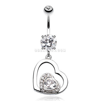 Sweet and Sparkly Heart Belly Button Ring (Clear)
