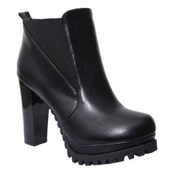 Black Elastic Slip-On Ankle Boots
