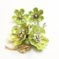 Vintage Brooch and Earrings Demi Set, Coro, Enamel, Flower, Bright Green AB Rhinestones, Spring Jewelry, 1950s, 1960s: