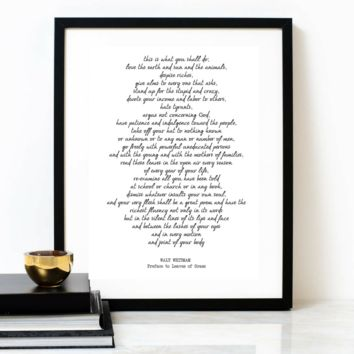 'Preface To Leaves Of Grass' Typographic Print, WALT WHITMAN Poem
