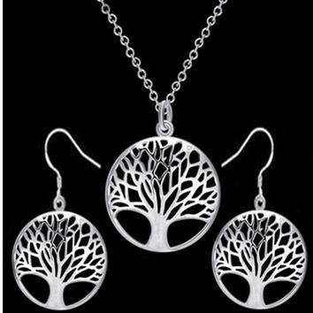 round hollow wishing tree pendant necklace life tree Tree Of Life pendant necklace silver jewelry fashion cute wedding part