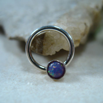 Septum Ring Silver MMS38 Fire Opal