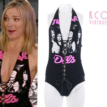 1990's Vintage Bodysuit RARE David Dalrymple New York Dolls Punk XS / Black White Pink Graphic Band Celebrity Top Corset One Piece Swimsuits