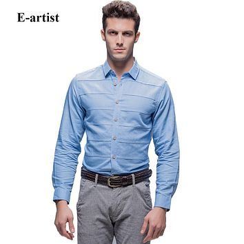 Men's Slim Fit Business Casual Solid Dress Shirts Long Sleeve Linen Cotton Tops For Spring Autumn