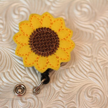 Adorable sunflower - badge clip - nurse badge pull - name badge holder - ID holder - badge reel - felt badge holder - retractable - nurse