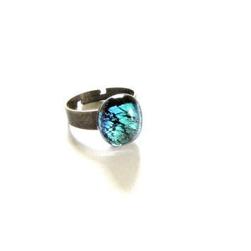 Green Fused Dichroic Glass Copper Ring Adjustable Ring Black Green glass ring Handmade jewelry # R11