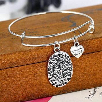 Silver Plated Pendant Charm  Bangle